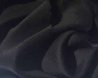 "60"" 100% Lyocell Tencel Gabardine Twill Eco-Friendly Medium Weight Black Woven Fabric By The Yard"