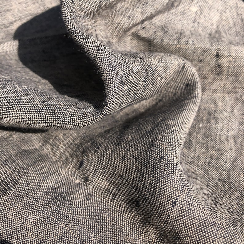 """54/"""" Gray Black 100/% Linen Flax Heavy Weight Striped Lithuanian Woven Fabric By t"""