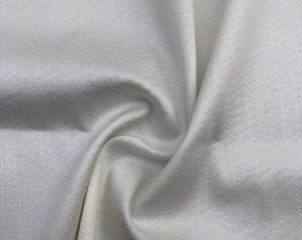 "56"" Spanish Tencel Lyocell Cotton Spandex  Stretch Gabardine Twill Satin White Woven Fabric By the Yard"