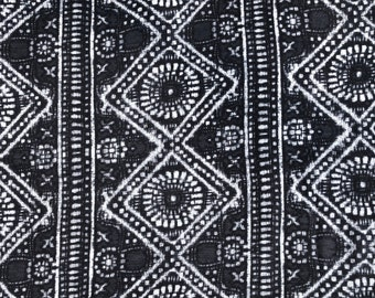 "60"" Modal Spandex  Stretch Gray & White Handkerchief Bandana Illuminati Versace Print Jersey Knit Fabric By the Yard"