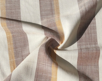 """56"""" Cotton Linen & Rayon Striped Burgundy Red White Yellow Apparel Woven Fabric By the Yard"""