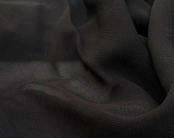 """54"""" 100% Lyocell Tencel Georgette Light Sheer Black & White Woven Fabric By the Yard"""