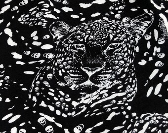 "60"" Modal Spandex  Stretch Black & White Jaguar Cheetah Skull Skeleton Print Jersey Knit Fabric By the Yard"