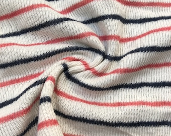 """46"""" Modal Striped Polka Dot White Red Black Rib Knit & Double Knit Fabric By the Yard"""