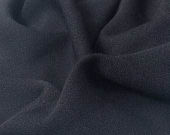 """58"""" 100% Cotton Crepe Black 7 OZ Light Woven Fabric By the Yard"""