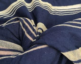 "66"" Modal Spandex  Stretch Lame Metallic Glitter Shiny Dark Navy & Gold Striped Jersey Knit Fabric By the Yard"
