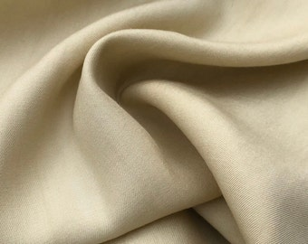 "60"" Beige 100% Lyocell Tencel Gabardine Twill Eco Friendly Medium Weight Woven Fabric By the Yard"
