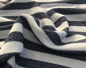 """70"""" 100% Cotton Striped French Terry Cloth White with Blue Stripes Yarn Dyed Heavy Knit Fabric By the Yard"""