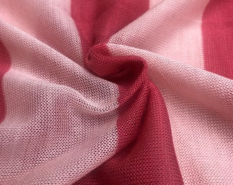"""60"""" Striped 100% Polyester Low Gauge Pink & White Yarn Dyed Knit Fabric By the Yard"""