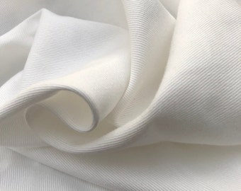 """60"""" 100% Organic Cotton Twill 6 OZ White Apparel &  Woven Fabric By the Yard"""