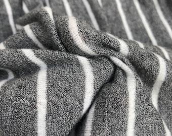 "54"" Rayon & Spandex  Stretch Yarn Dyed Fleece Heather Gray White Pinstriped Apparel Knit Fabric By the Yard"