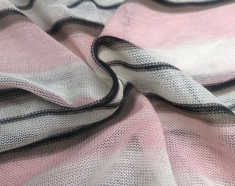 """60"""" 100% Polyester Pink Black White Striped Low Gauge Yarn Dyed Knit Fabric By the Yard"""