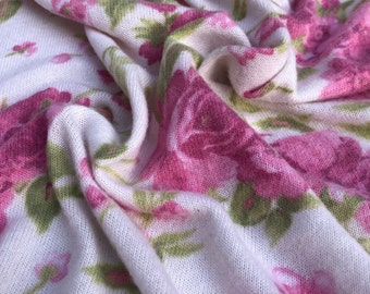 """58"""" Rayon & Spandex  Stretch Blend Floral Flower Brushed Hatchi Low Gayge White, Pink, Green Apparel Jersey Knit Fabric By the Yard"""
