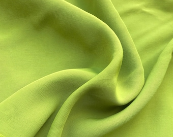 """58"""" 100% Rayon Faille Blitz Bright Neon Green Light Weight Woven Fabric By the Yard"""