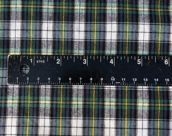 """60"""" 100% Cotton Plaid Gingham Yarn Dyed Checkered Green Yellow & White Woven Fabric By the Yard"""