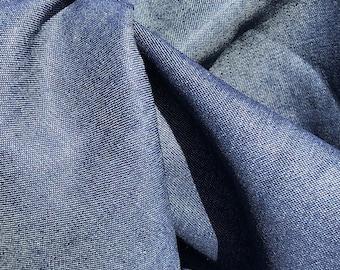 "58"" 100% Cotton Denim Chambray 7 OZ Dark Indigo Blue Apparel &  Woven Fabric By the Yard"