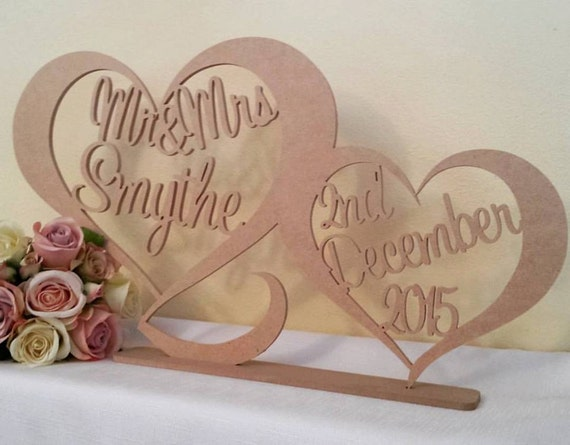 Personalised custom wedding Mr /& Mrs surname freestanding unpainted wooden sign