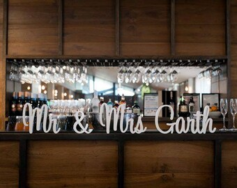 Personalised MrMrs MrMr MrsMrs sign with surname - Free Standing Weddings, decor, party