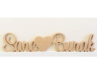 Personalised Wedding sign with a block love heart