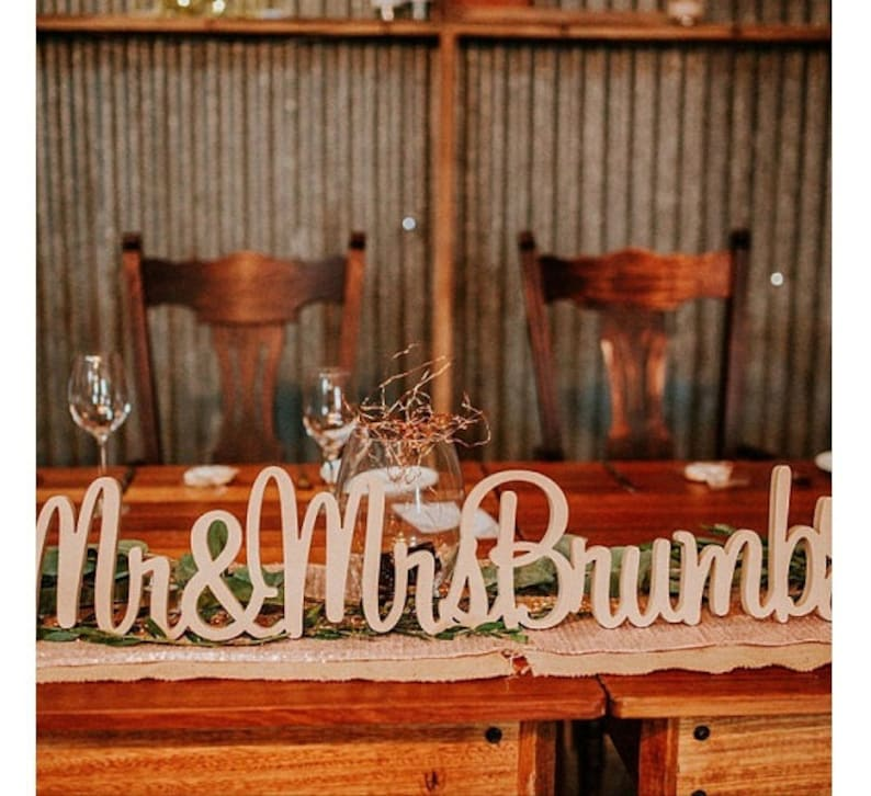 Personalised Mr & Mrs Wedding sign with surname image 0