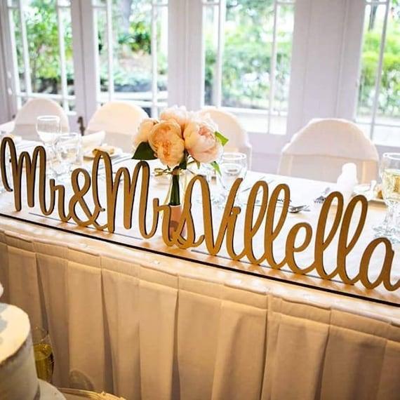 Wedding Mr/&Mrs Wooden Letters 200mm Freestanding Sign