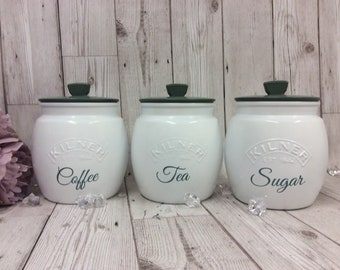 Tea Coffee Sugar Canisters Etsy