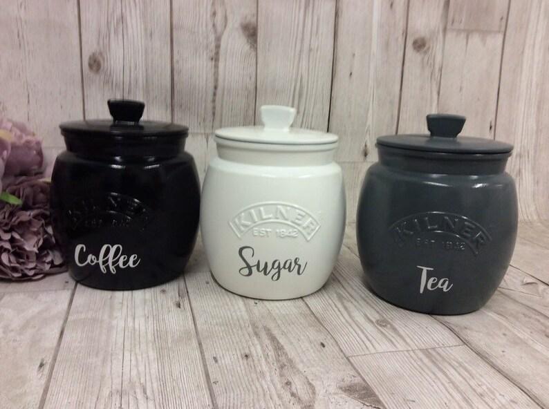 White Black Grey Coppersilver Grey Tea Coffee Sugar Kilnercanisters Kilner Set House Warming Giftkitchen Set Gift Marble