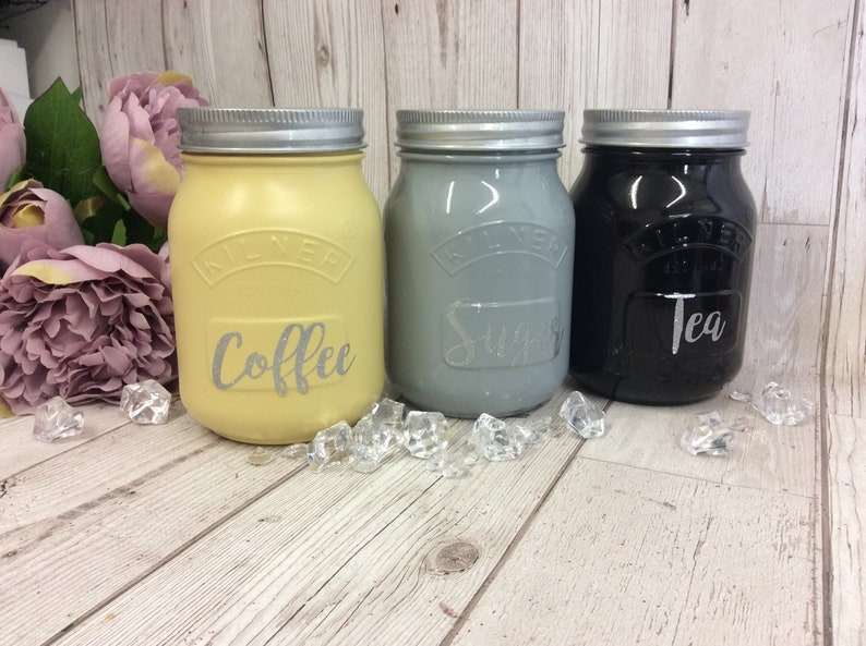 Greyblackyellow Kitchen Canister Kilner Jars Tea Coffee Etsy