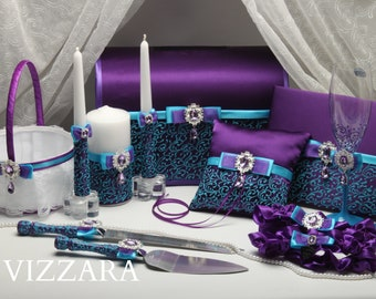 Set Purple HAND-Painted Wedding cake server sets Ring bearers pillows Wedding boxes Wedding guest books Champagne flutes Unity candles