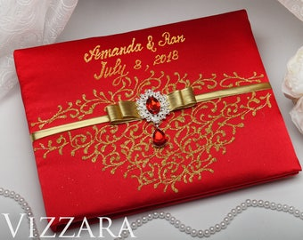 Wedding guest books Red and gold wedding Guest books wedding Gold and red  wedding Unique guest book ideas for wedding Red wedding colors 171a0271e998