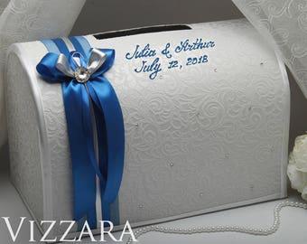 Wedding Card Box Royal Blue And Silver Wedding Card Box Etsy