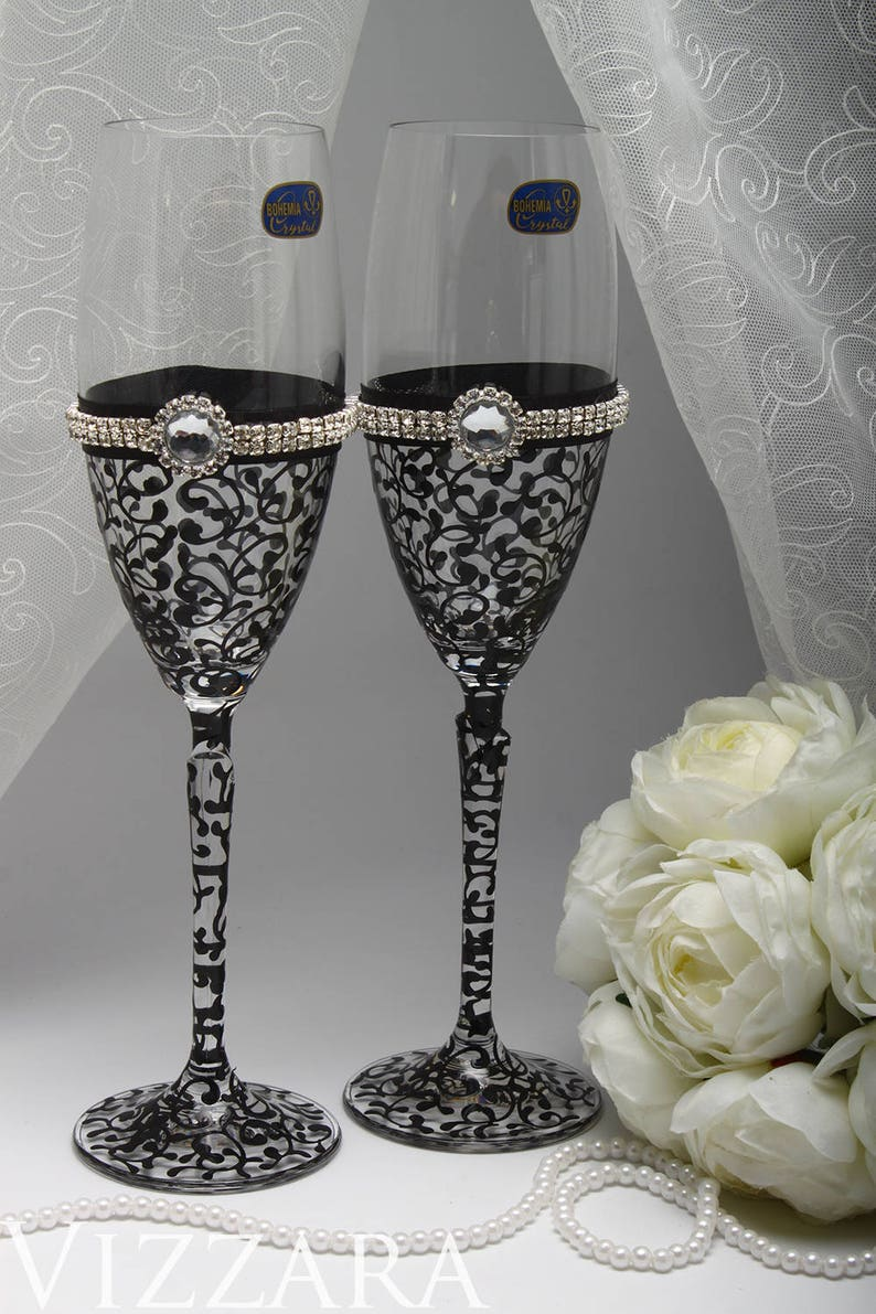 Champagne Flutes Black Champagne Flutes Champagne Flutes Bulk Etsy