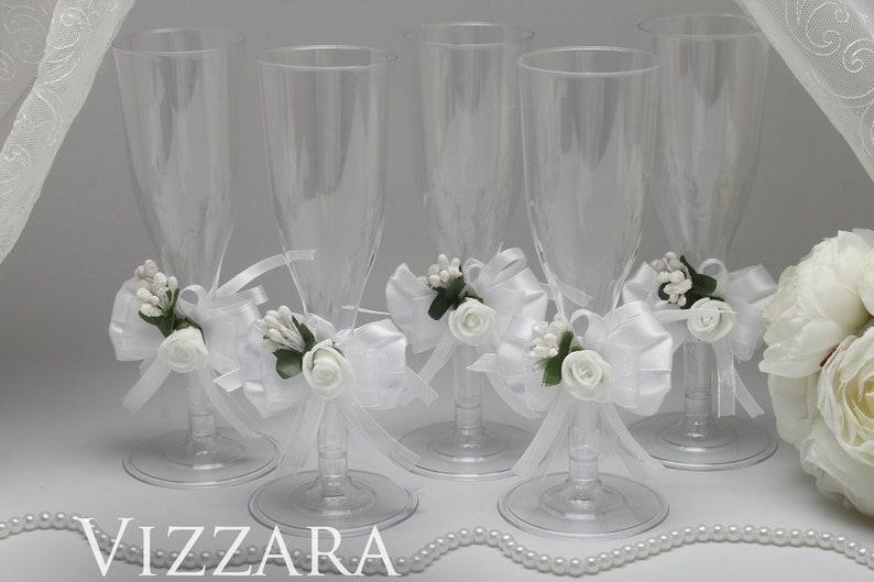 Plastic Champagne Glasses White Wedding Plastic Flute Glass Etsy
