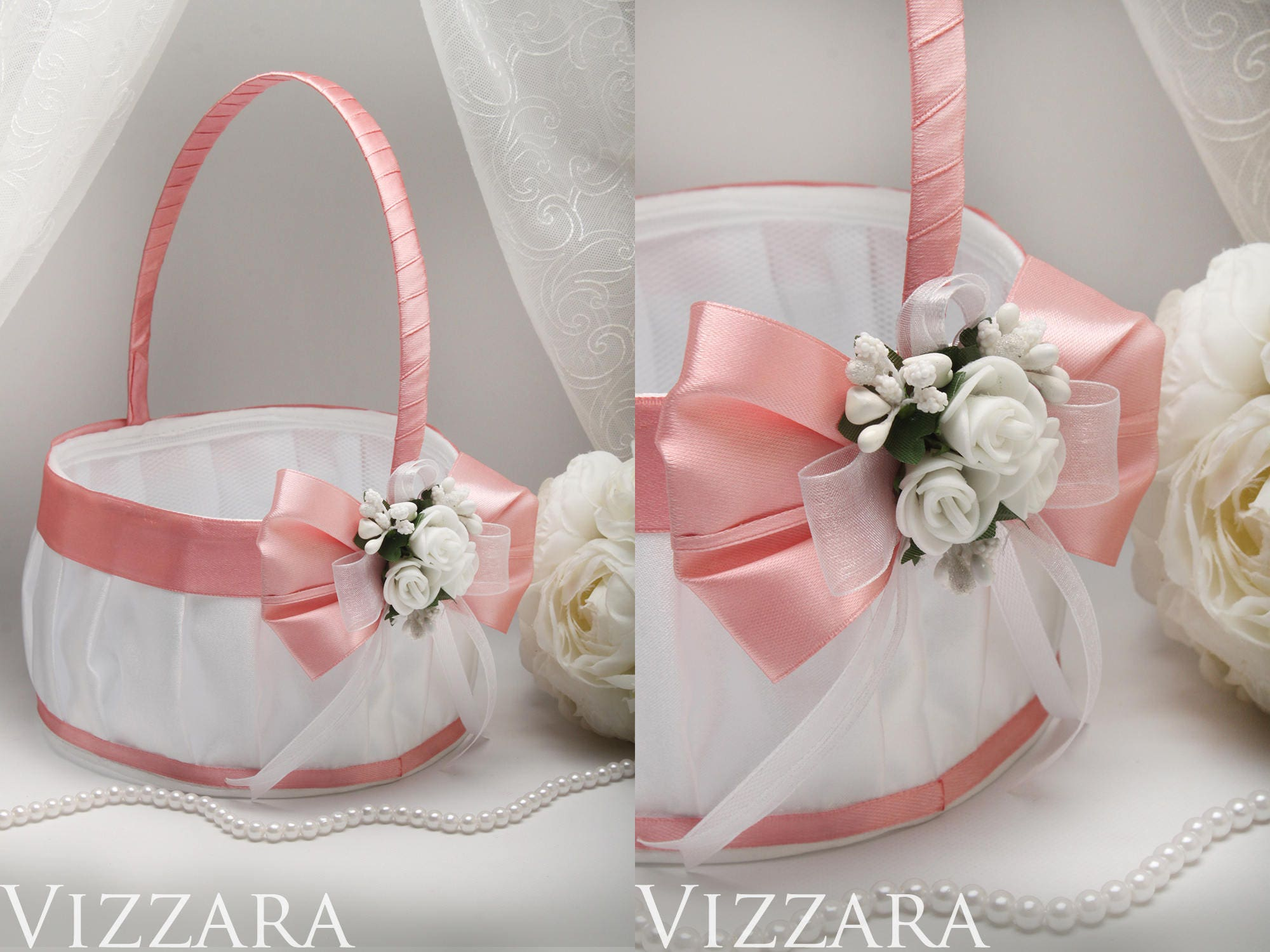 1bd90aeb15 Flower girl basket Pink wedding Party wedding Decor Pink and