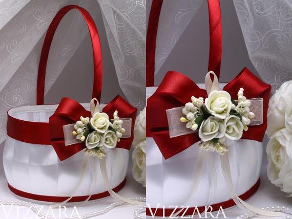 Wine Wedding Red Flower Girl Baskets Vintage Wedding Party Etsy