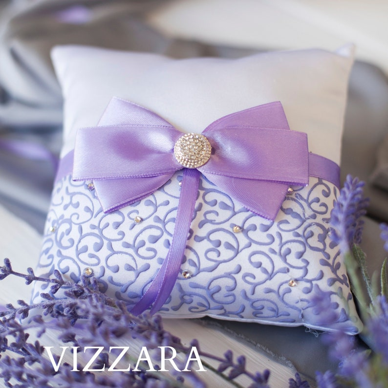 Wedding Ring pillow HEND PAINTED Lilac Wedding Purple Ring image 0