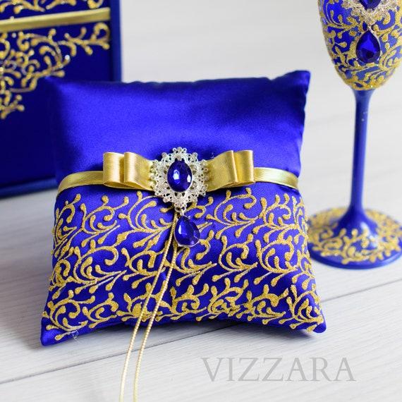 Ring bearer pillows Royal blue wedding Ring bearer pillow ideas Royal blue  and gold wedding Ring bearer pillows Royal blue wedding color