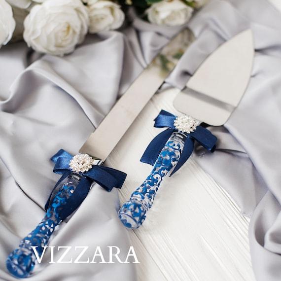 Hochzeitstorte Messer Set Blau Dunkelblau Hochzeit Hochzeit Etsy