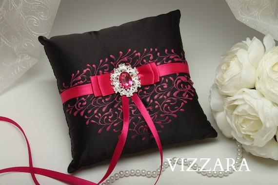 Ring Bearers Pillows Black Wedding Burlap Ring Bearer Pillow Etsy