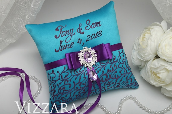 Ring Bearers Pillows Purple And Turquoise Wedding Ring Bearer Etsy