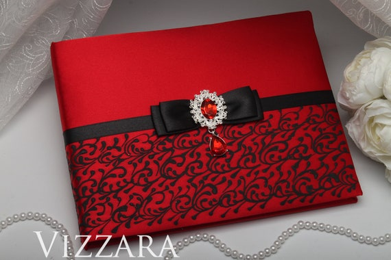 Guest Book Ideas For Wedding Red And Black Wedding Red Wedding Etsy