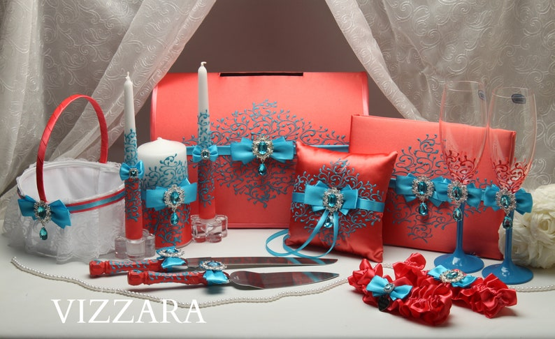 Set Coral Turquoise Hand Painted Coral And Turquoise Wedding Etsy