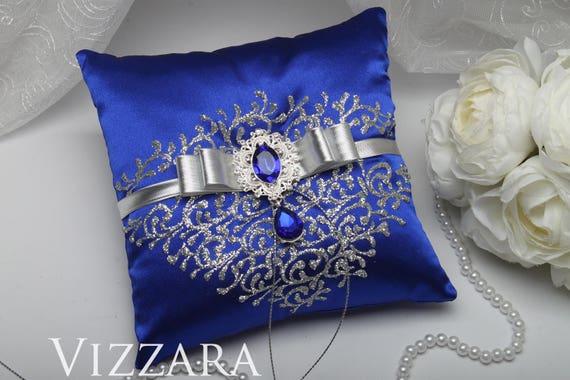 Ring Bearer Pillows Royal Blue And Silver Wedding Ring Bearer Etsy