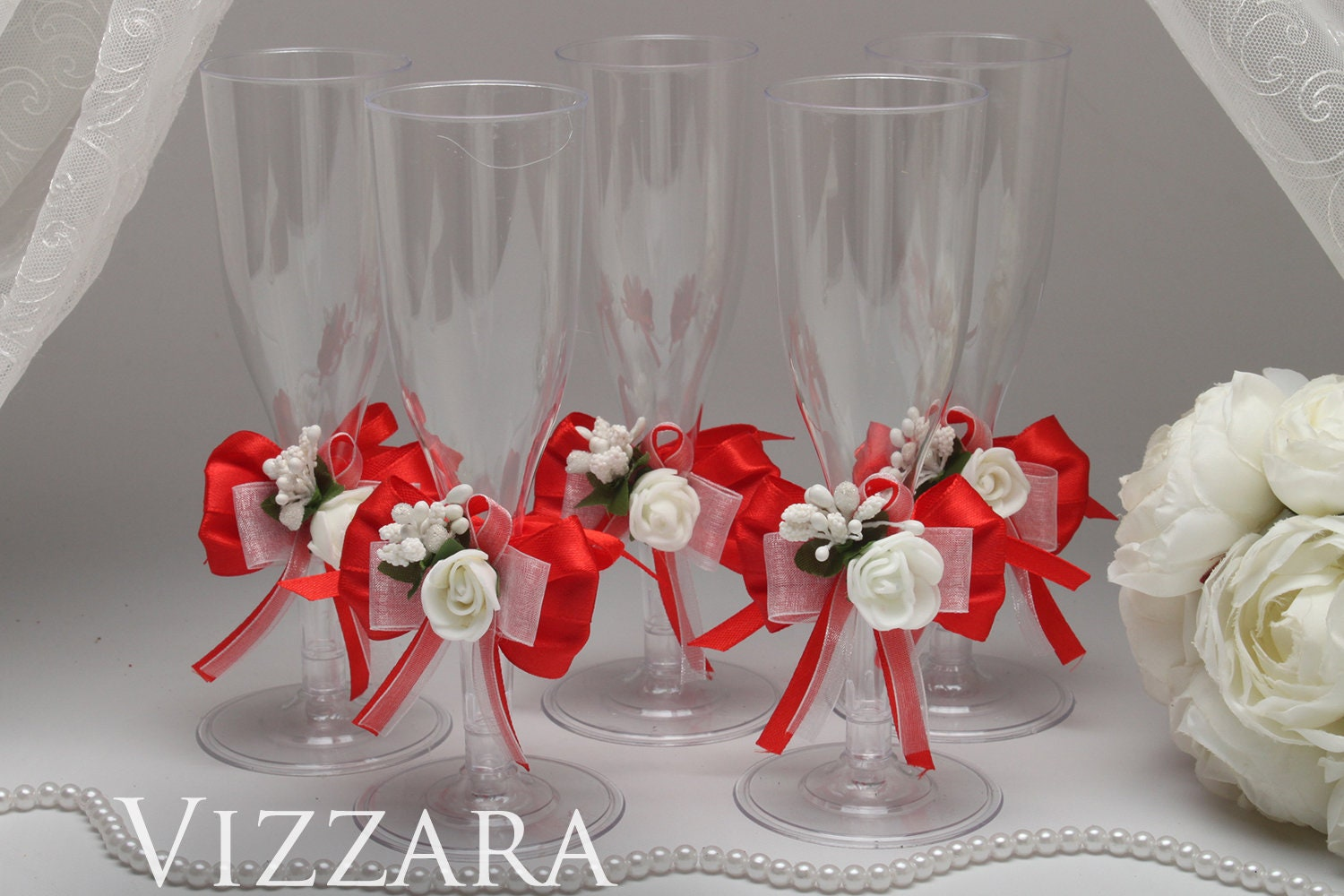 Plastic Champagne Glass Red Wedding Plastic Flute Glass Red Etsy