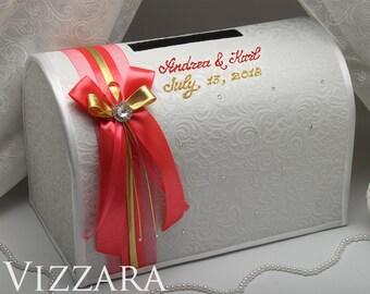 Wedding gift card box ideas Coral wedding Wedding card holder box Coral wedding ideas White wedding card box Gold and coral wedding