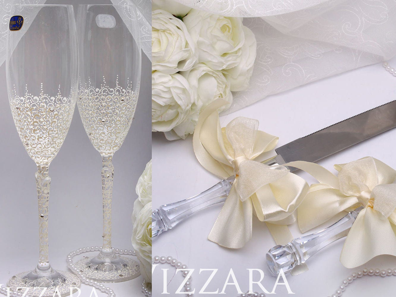 Wedding cake server set Flutes glasses Wedding flute and cake