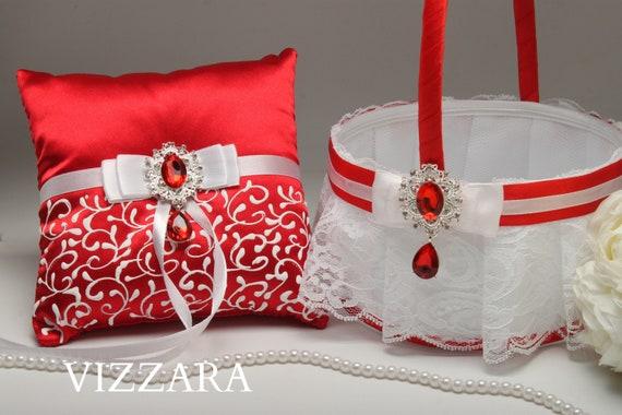Flower girl basket and ring bearer pillow red wedding flower etsy image 0 mightylinksfo