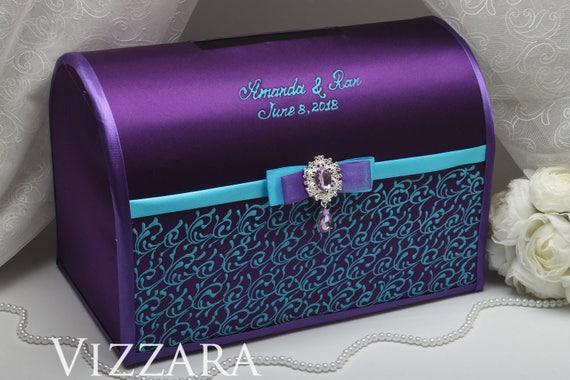 Wedding envelope boxes Purple and blue wedding Envelope box | Etsy