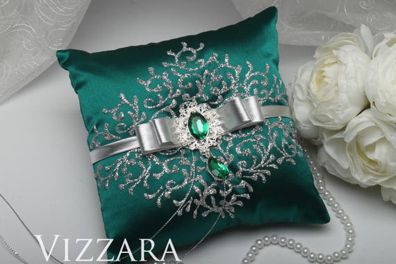 Ring Pillows Teal Wedding Wedding Ring Pillow Teal And Silver Etsy