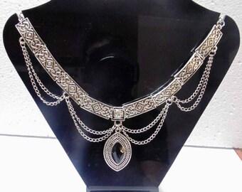 Tribal ethnic jewelry necklace   belly Dance gypsy kuchi banjara goth boho jewelry oxidized sterling Silver plated necklace  Tribal Jewelry